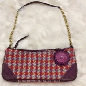 COACH Purple Tweed BAG Suede Flower Pin Chain